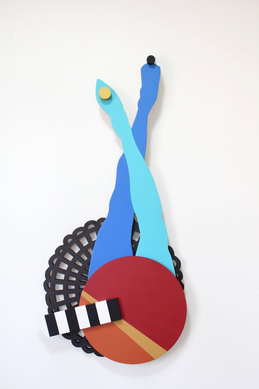 "Blue Legs - Angela Chrusciaki Blehm25.5"" x 53"" x 3"" ink and latex paint on wood$1600"