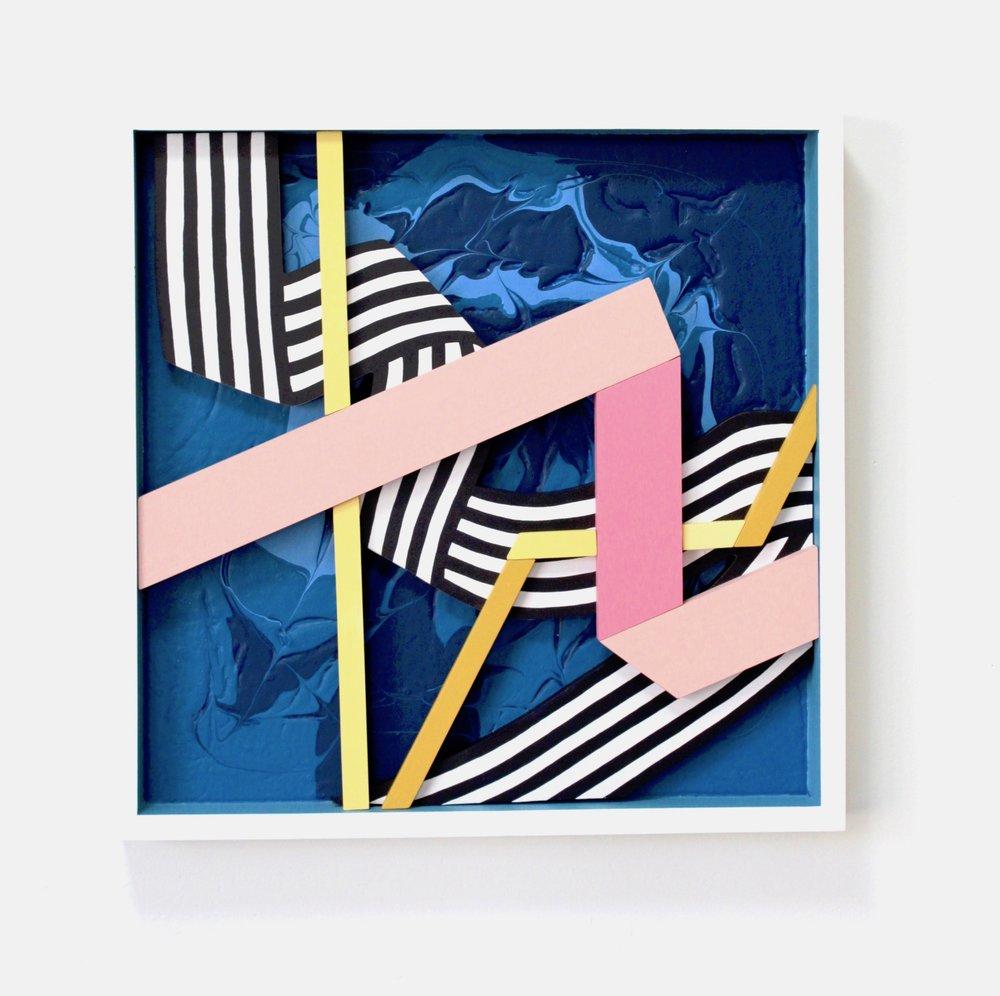 "Ribbon Box - Angela Chrusciaki Blehm21"" x 21"" x 2.5"" ink and latex paint on wood$900"