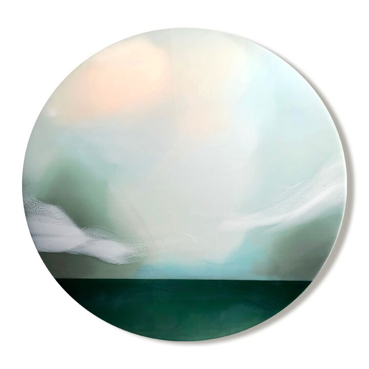 "Above Us Only Sky - 40"" x 40"" pigmented resin on panel$1650"