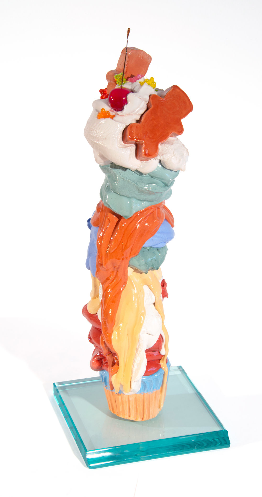"Candy Land - 19"" x 7"" x 7""Cement, mix media, glass baseSOLD"