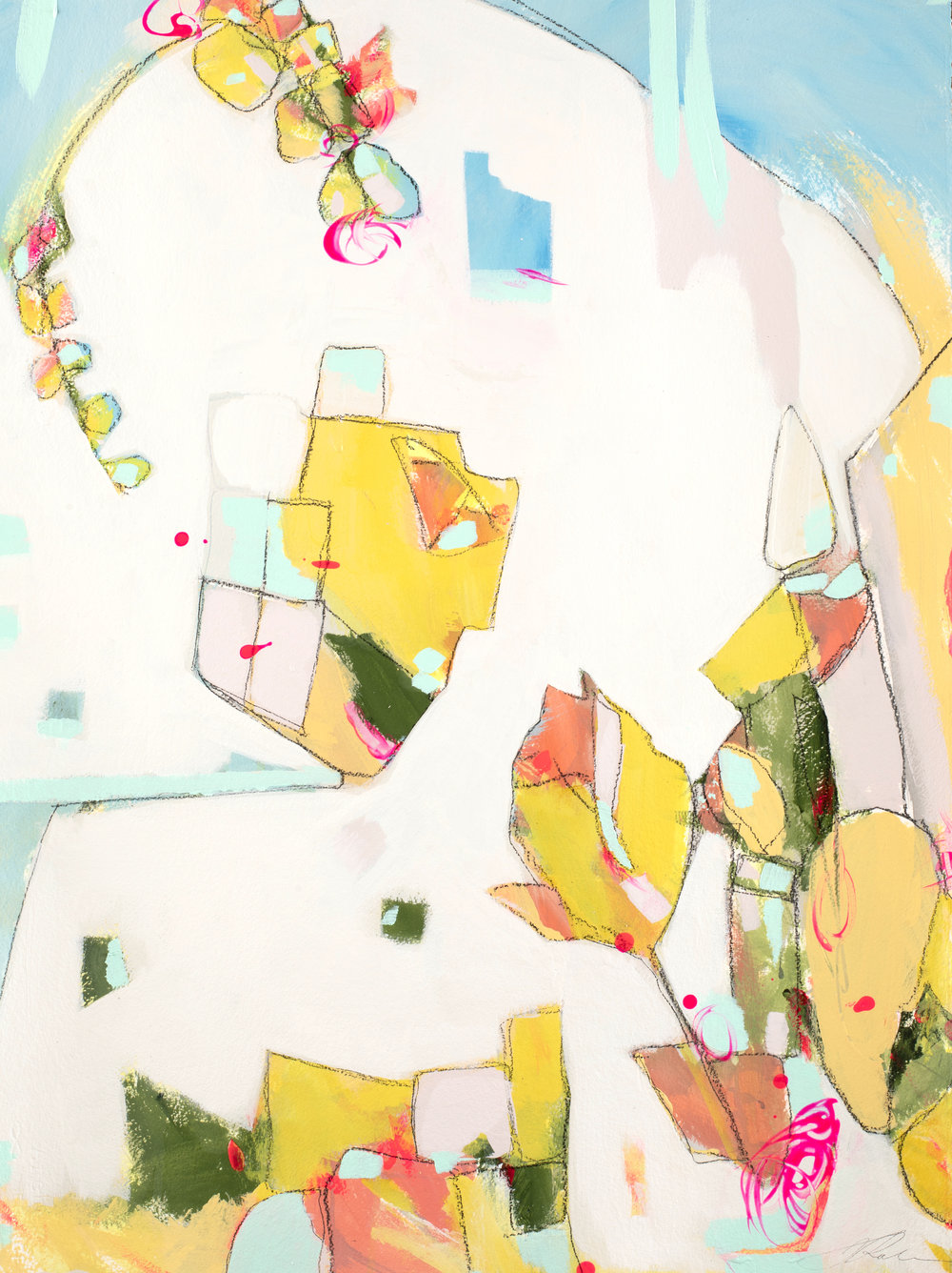 """The Village Where He Lives - 26.5"""" x 34.75""""Mixed media on watercolor paper, framed$1250"""