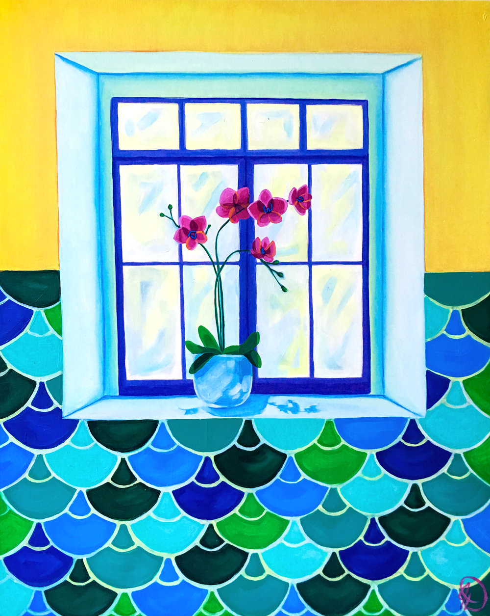 """The Flower Sill - 30"""" x 24"""" oil on wood panel $800"""