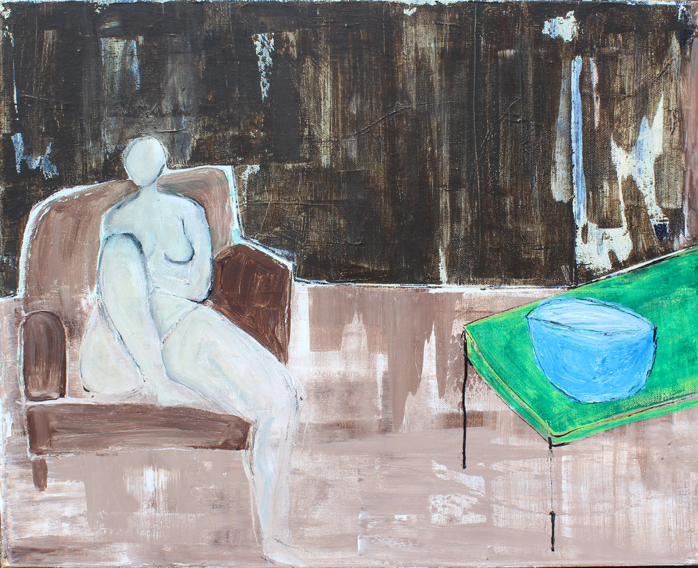 "Lady in Chair II - 16"" x 20"" acrylic on canvas$600"