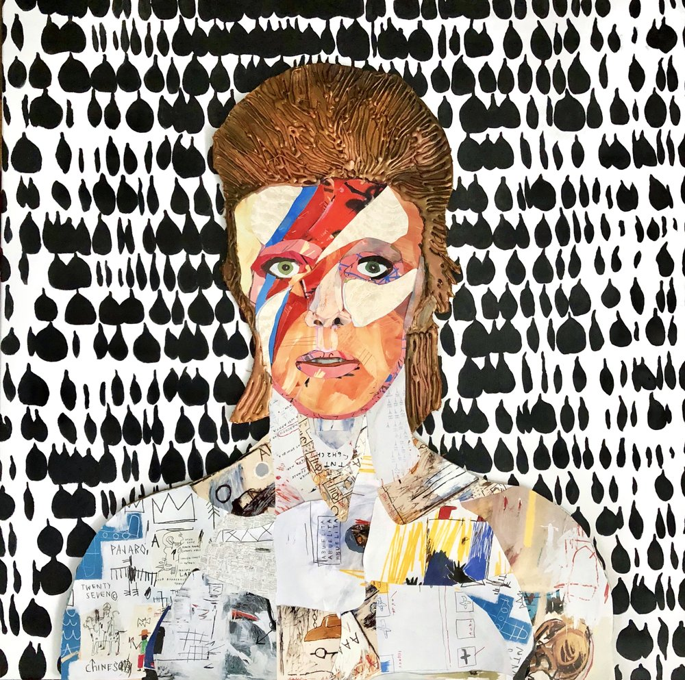 """Ziggy - 30"""" x 30""""Mixed media and resin on canvas$6500"""