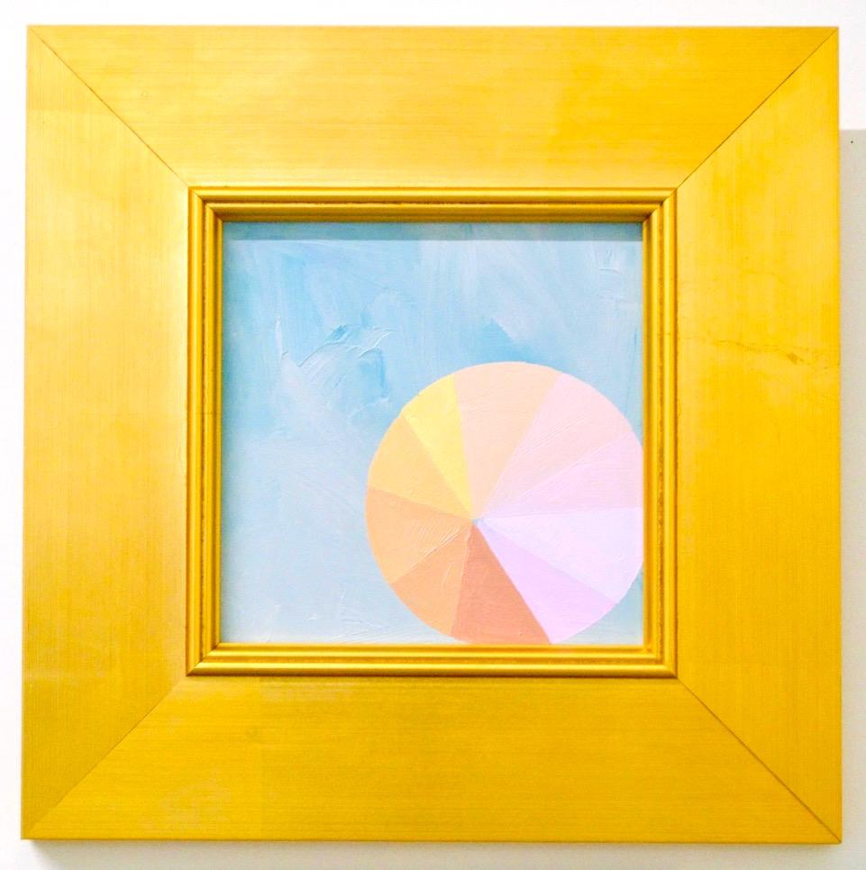 """Mantra D - 6"""" x 6"""" oil and gold leaf on panel, framed$450"""