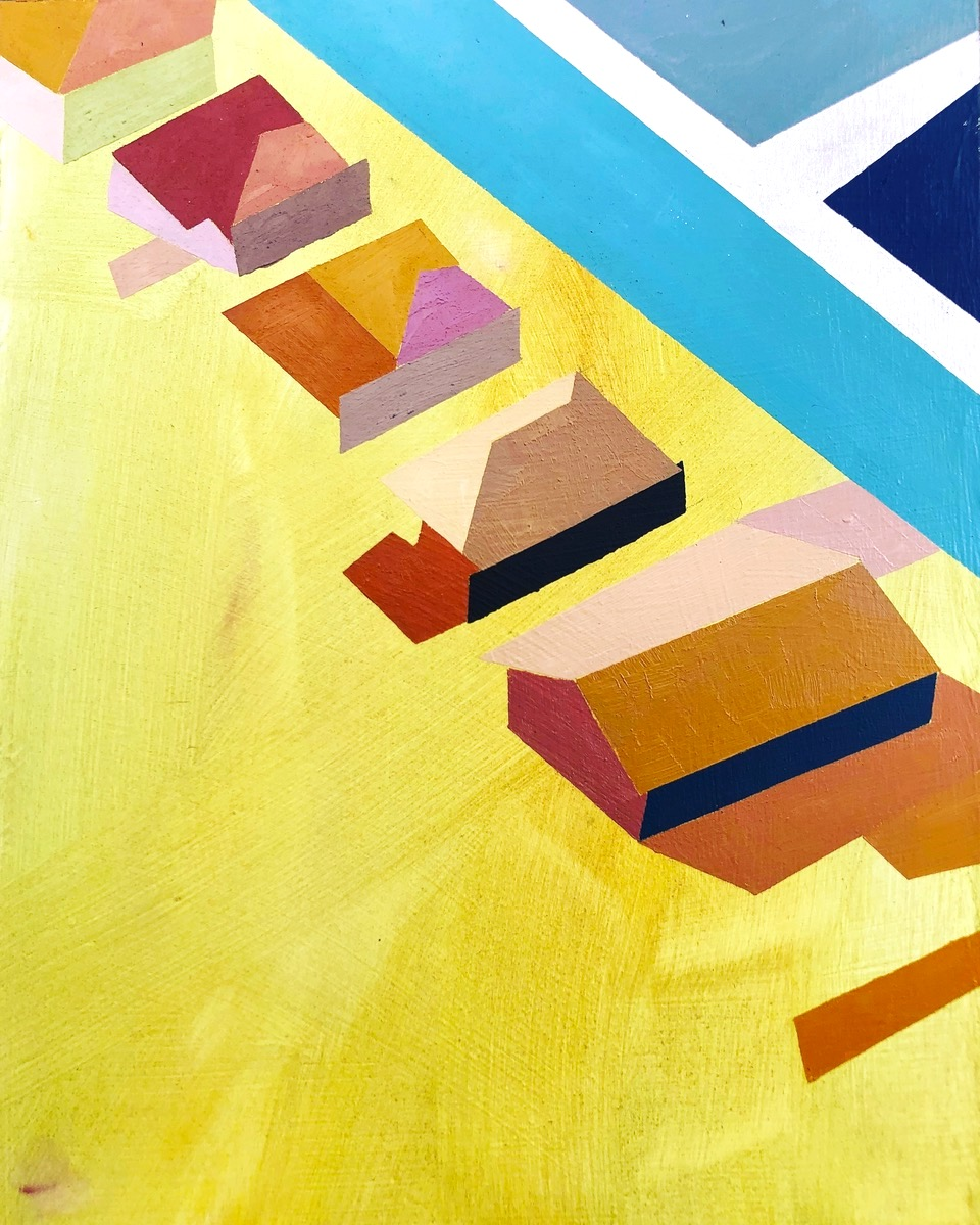 """Little Boxes B - 14"""" x 11"""" oil and gold lead on panelSOLD"""