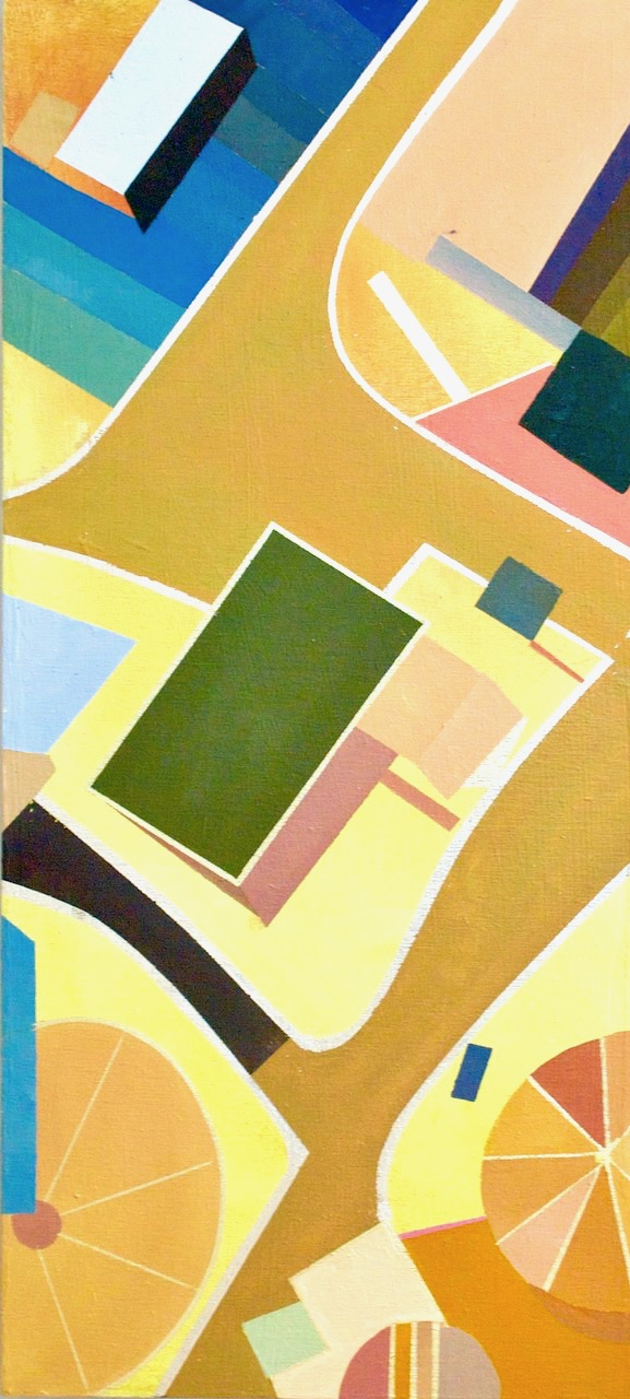 """Little Boxes C - 22"""" x 11"""" oil and gold leaf on panelSOLD"""
