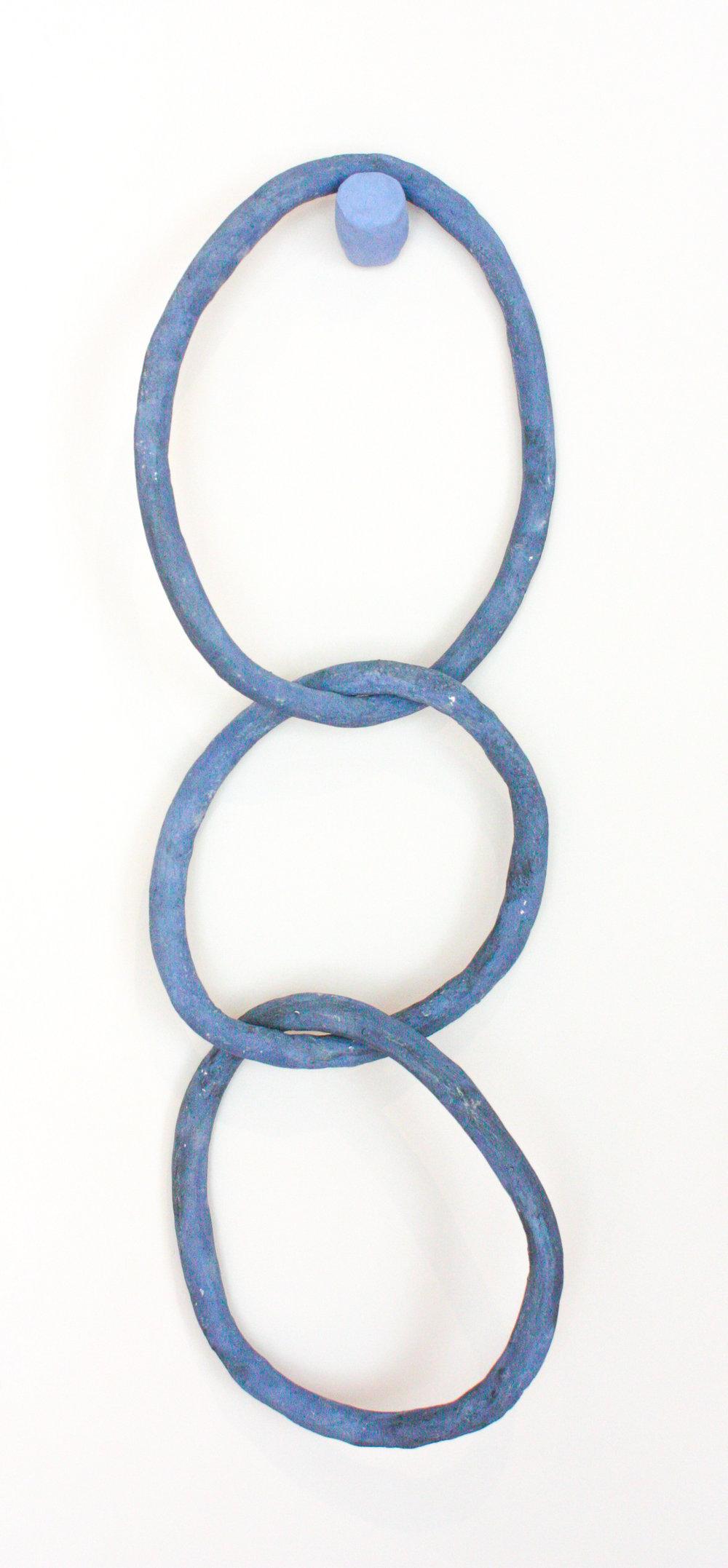 "Blue Rings - 24"" x 10"" stoneware clay and ceramic glaze$300"