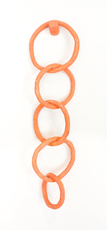 "Orange Rings - 24"" x 10"" stoneware clay and ceramic glazeSOLD"