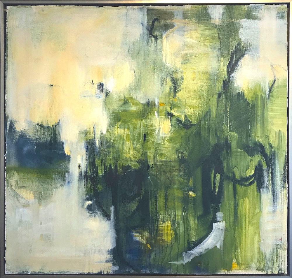"""Promising - 40"""" x 40"""" oil on paper, framed$3400"""