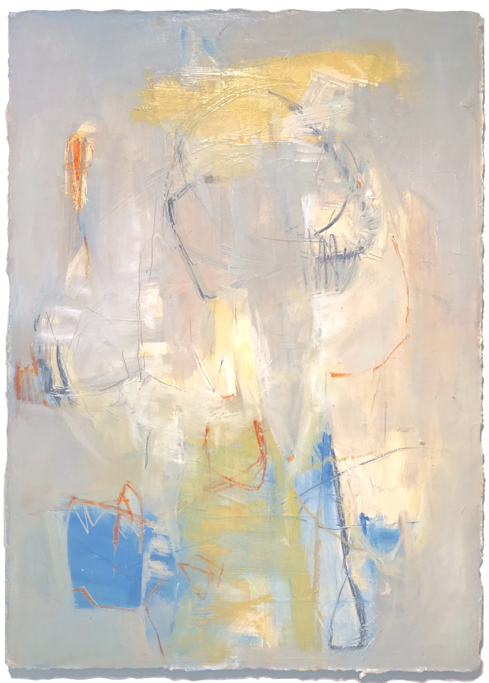 """Just Playing - 36"""" x 26"""" oil on paper, mounted to French cleat$1200 HOLD"""