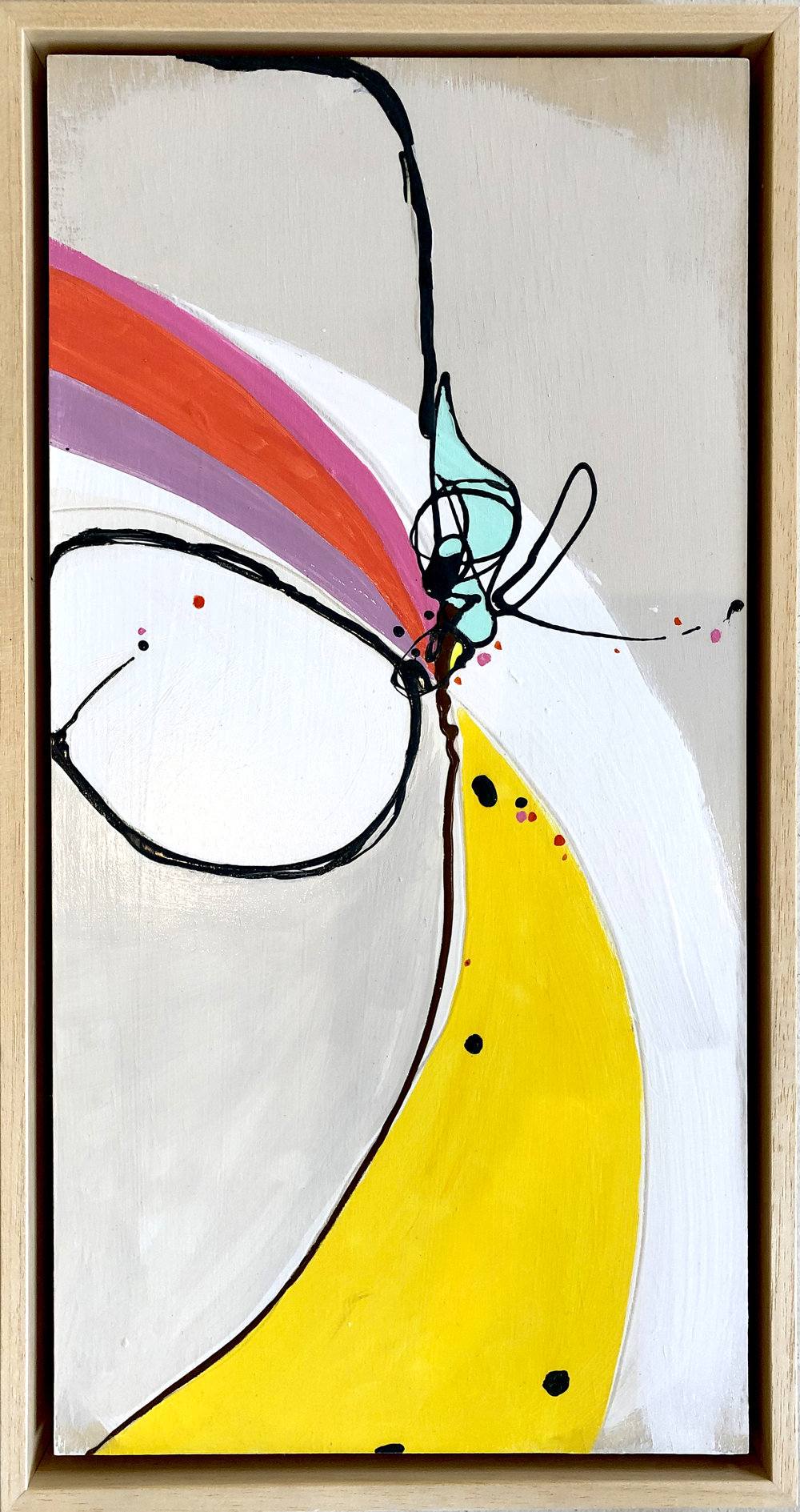 """Fireworks 4 - 11.5"""" x 21.5""""Mixed media on paper, mounted on panel, framed$325"""