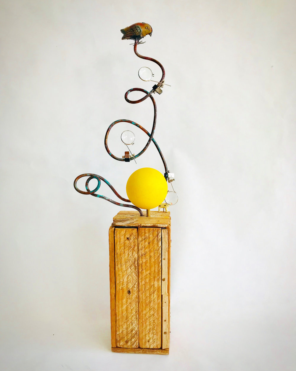 "Songs of Freedom #14 - Assemblage sculpture24"" x 4"" x 7""$375"