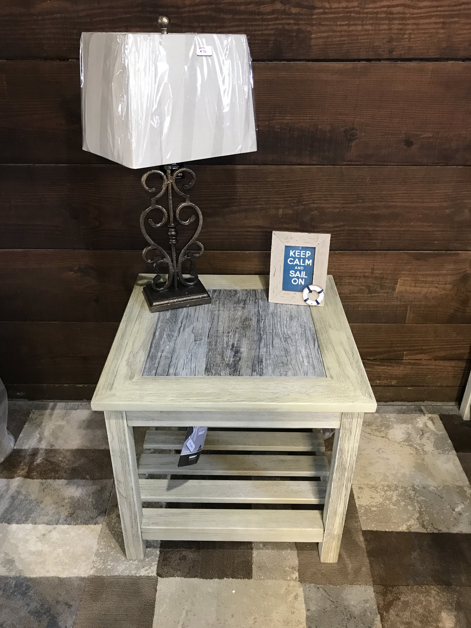 SOLD SIGNATURE DESIGN BY ASHLEY T VELDAR END TABLE WHITEWASH - Ashley veldar coffee table