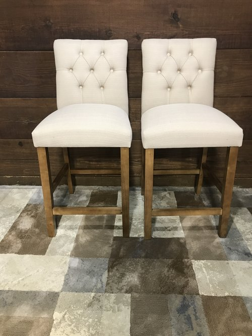 Threshold Sterling Tufted 25 Counter Stool Wood Set Of 3 Piq