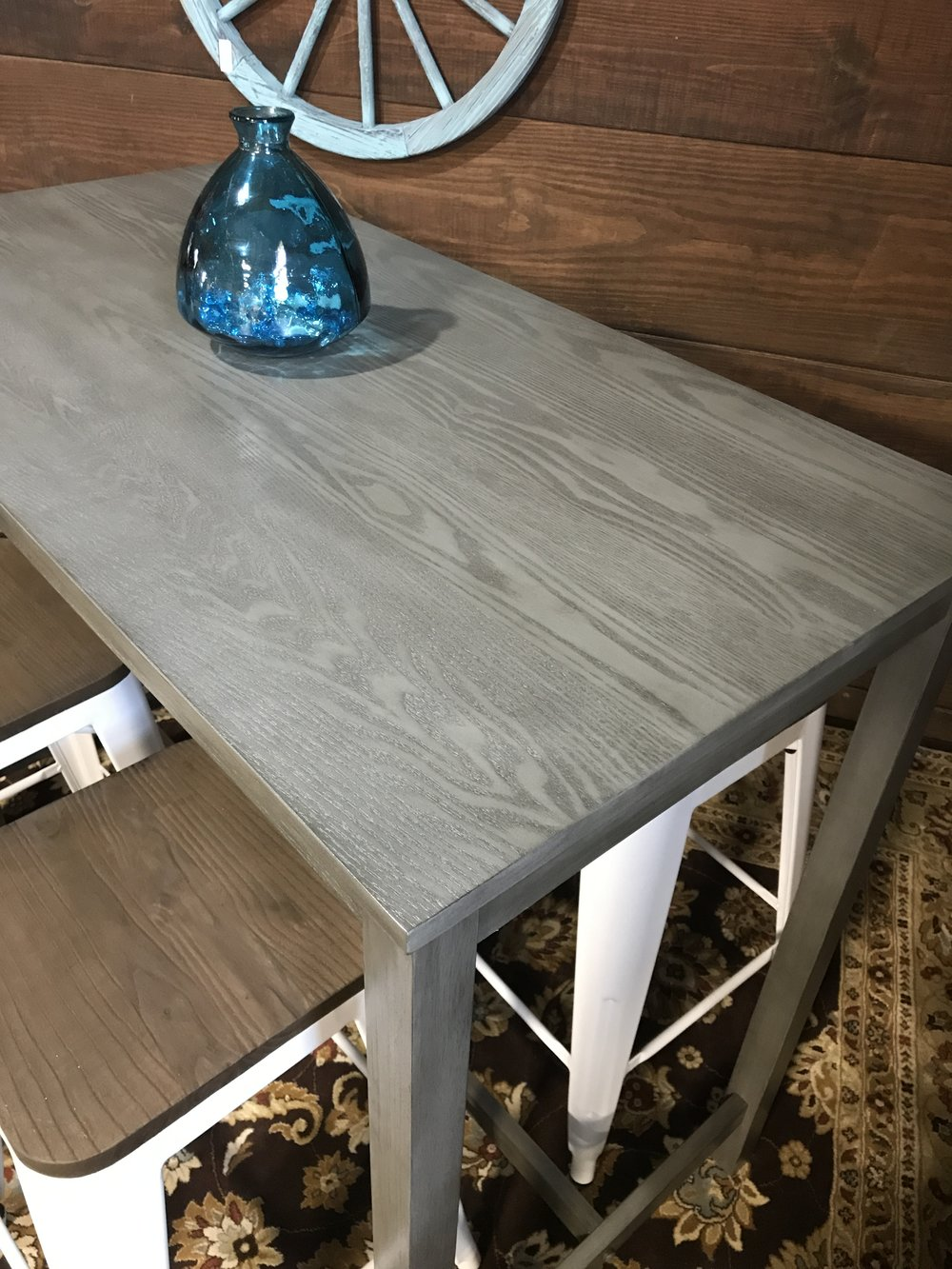 SOLD Counter Height Distressed Gray Pub Table   Threshold And