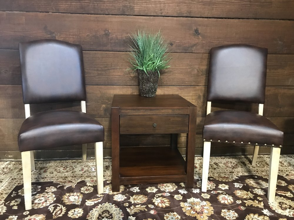 Tribecca Home Benchwright Nailhead Upholstered Dining Side Chairs Set Of 2,  Brown Bonded Leather
