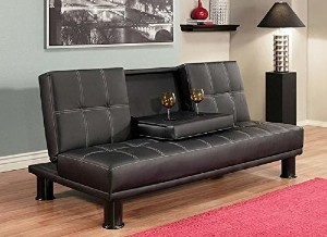 ABBYSON LIVING LUXURY MODERN CONVERTIBLE SOFA FUTON BED, TWIN SIZED  MATTRESS   SIGNATURE BLACK, UPHOLSTERY FAUX LEATHER, THIS SOPHISTICATED  TUFTED DESIGN ...