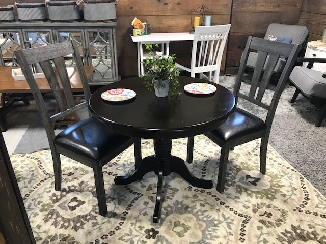 Swell East West Furniture Ant Cap T Round Table 36 Inch Cappuccino Finish And Black Base And Picket House Furnishings Grayson Faux Leather Dining Chair Gmtry Best Dining Table And Chair Ideas Images Gmtryco