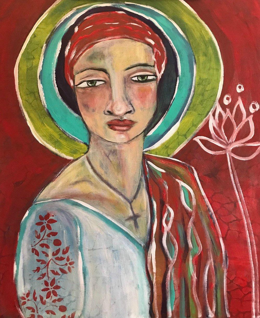 Untitled Prayer Painting  Acrylic on Canvas  20 x 24