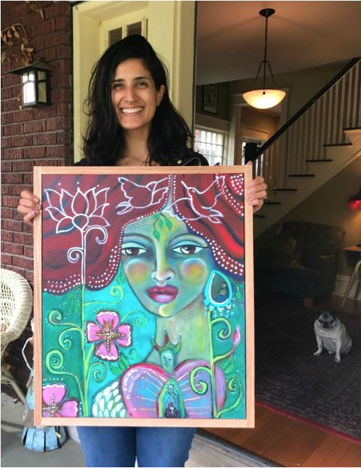 Nishaan and her painting