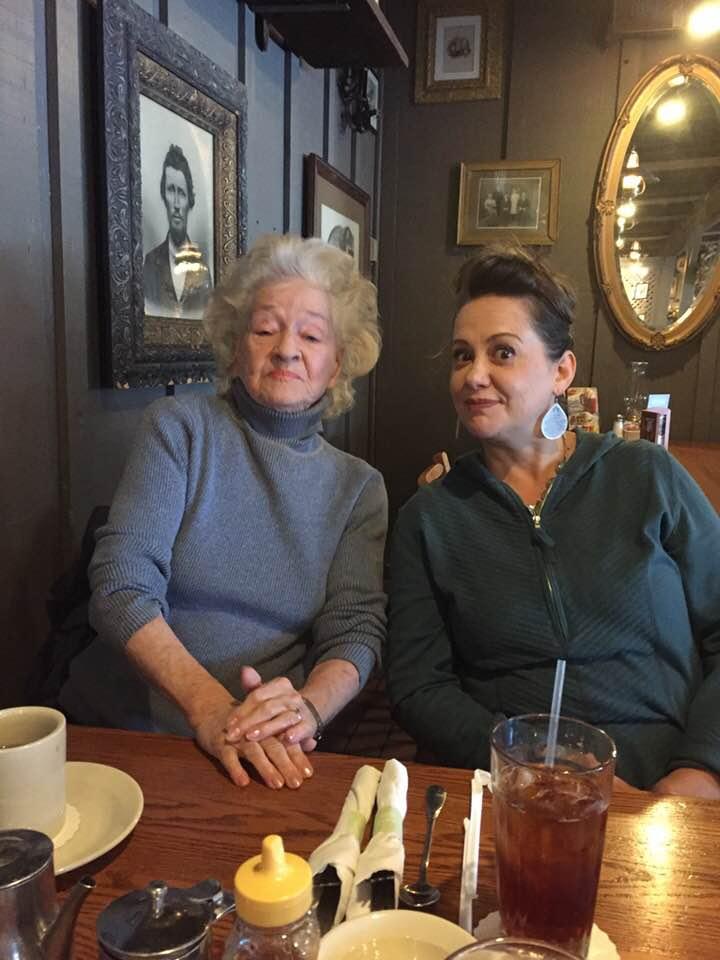 Aunt Naomi and me at Cracker Barrel