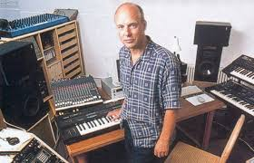 Music legend Brian Eno with his Mackie CR series mixer in view.