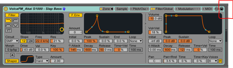 (Top right) The save button used to store each Sampler instance in your Ableton browser for future Live Sets.