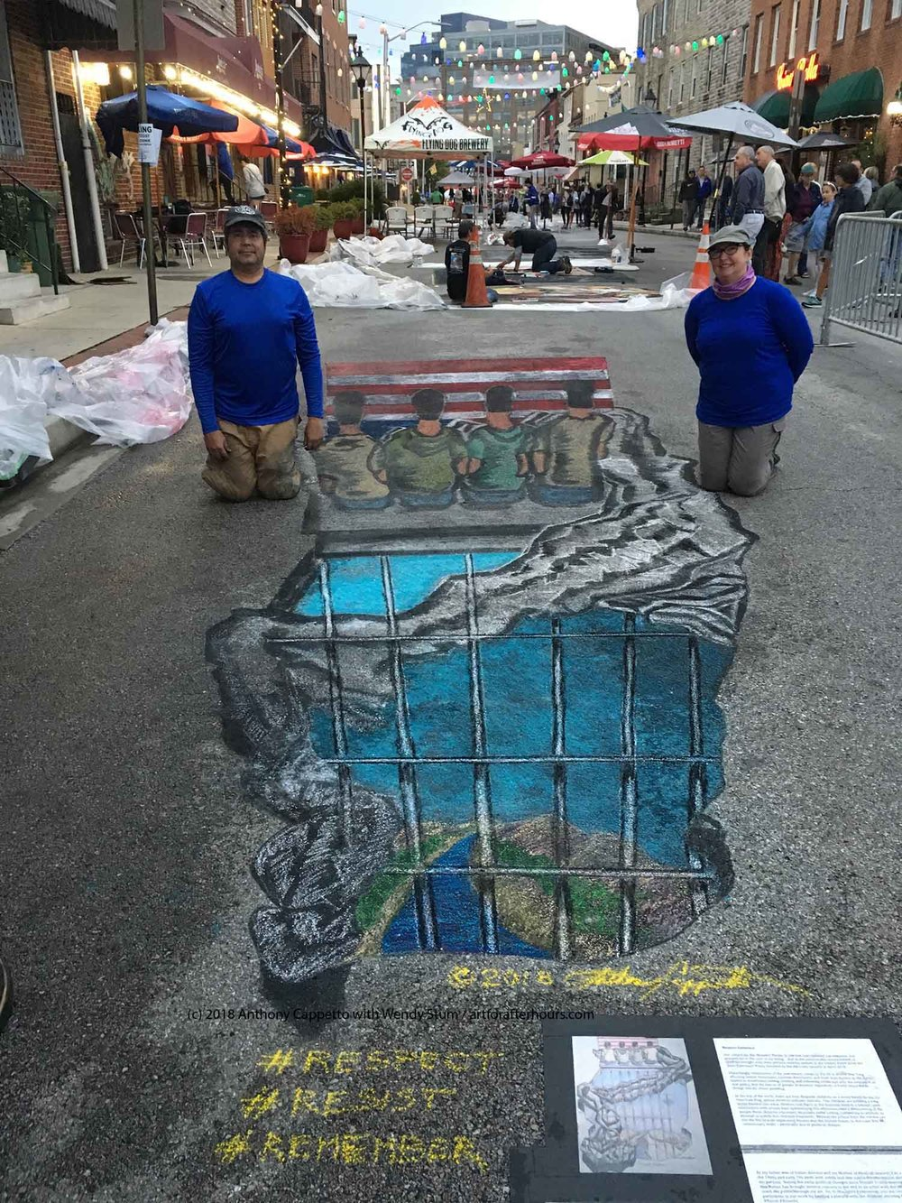 Art for After Hours team of Anthony Cappetto with Wendy Stum proudly posing within the 3D street painting art piece 'Respect Existence'