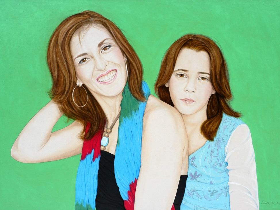 Natalia and Noemi - Acrylic on canvas100 x 140 cm (39 x 55