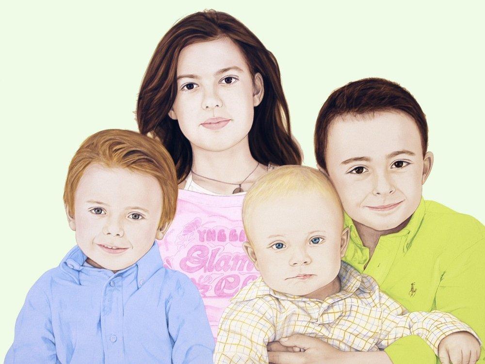 Our four Kids - Acrylic on canvas120 x 160 cm (47 x 63)