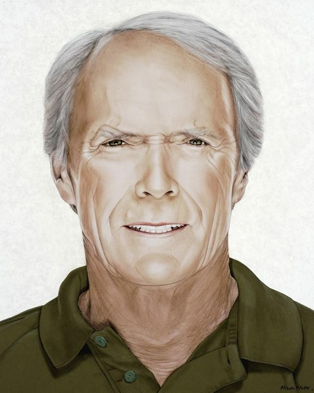 "Clint Eastwood - Acrylic on canvas110 x 90 cm (45 x 35"")"