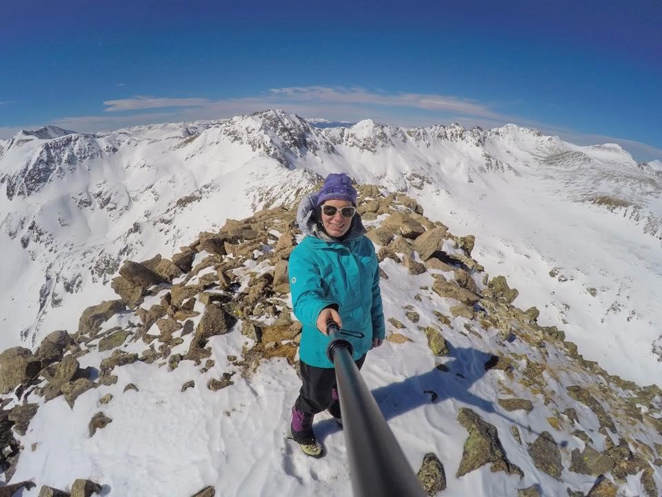 Sarah on top of North Star Mountain, a 13er and classic winter ridge climb, March 12, 2017.
