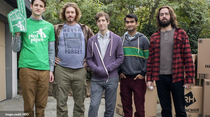 The characters from HBO's startup-based show  Silicon Valley . Note the hoodies. And sloganed t-shirts. And flannel.