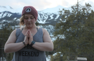 Lafferty, a Colorado native, meditating in the mountains.