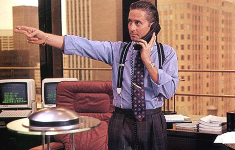 Michael Douglas as Gordon Gekko in the Twentieth Century Fox film Wall Street (1987).