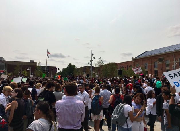 Hundreds gathered at Auraria Campus yesterday, September 5th, to protest the DACA decision. Photo credit: Katherine Miller.