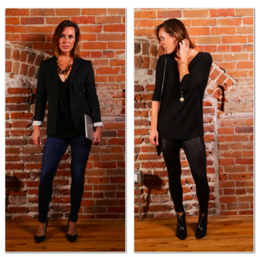 - Left: Making two subtle adjustments will take your black shirt/dark denim outfit to a polished and professional look for your big work presentation meeting: Throw on a fitted blazer (I like to lighten it up by rolling the sleeve up) and leave your jeans uncuffed.Right: A couple simple swaps will have you looking fun and sexy for that trendy happy hour with the ladies: Slide into a pair of sleek leggings and adorn your feet with a pair of chic black booties. It's go time.