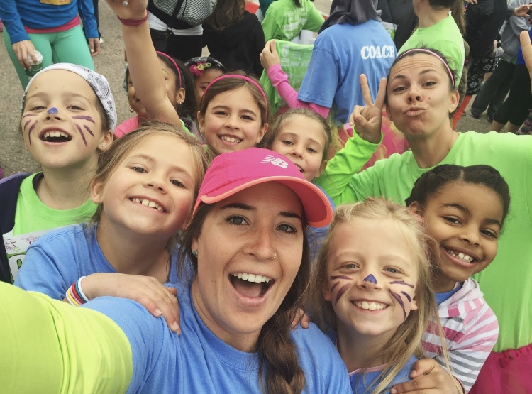 Coach Ordway with Girls on the Run.