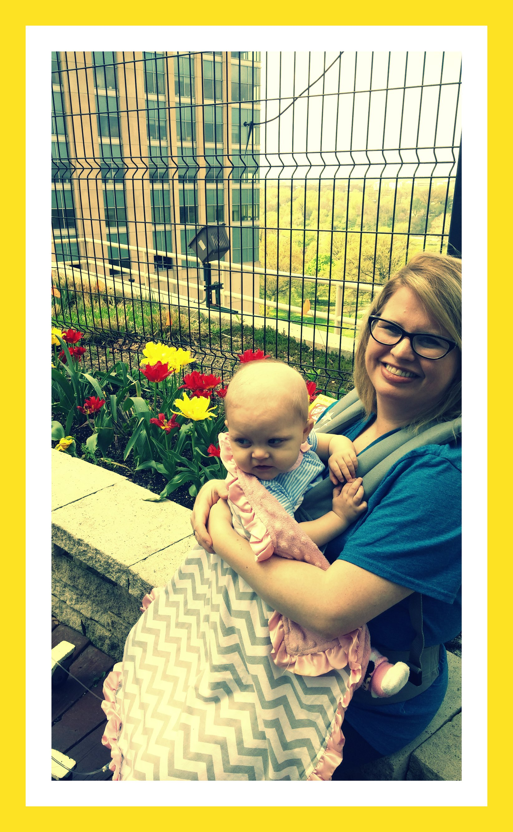 "We ventured out to the rooftop garden to look at the pretty flowers. I""m pretty sure that Charlie would have been sneezing, coughing and rubbing his eyes the whole time. We loved it though!"