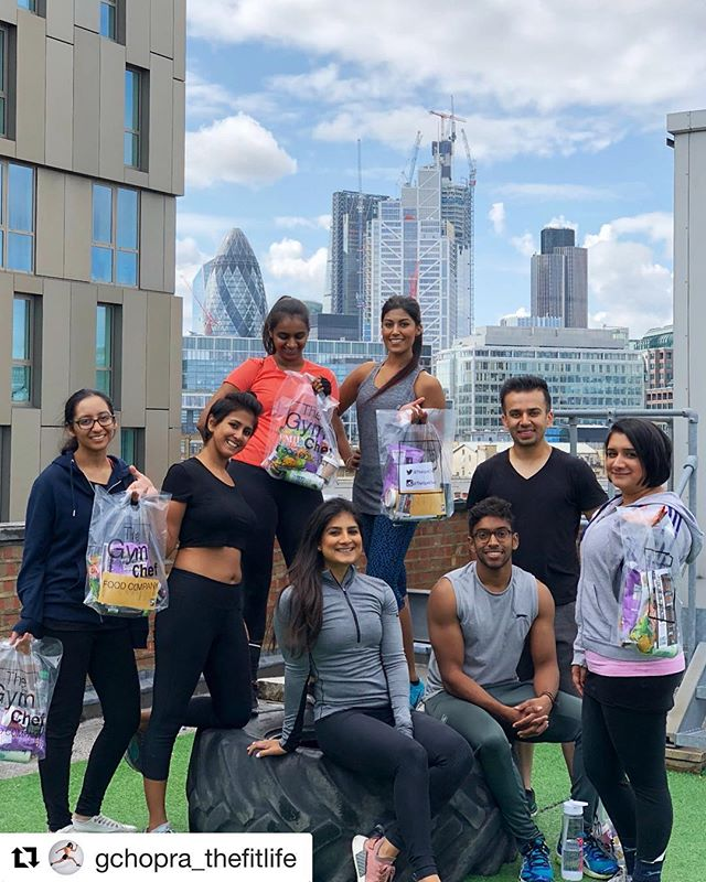 """Another great Saturday bootcamp!💪 Repost @gchopra_thefitlife: """"Hey everyone, pose/make a funny face!""""... *Swipe👈* Why am I such a child 🤦🏽♀️😂 I cannot even express how happy I was after today's bootcamp! 🙆🏽♀️ Genuinely feel so blessed to be able to create a positive environment for people to connect with each other, and connect with so many beautiful souls myself! 😍💕 - Swipe across to see some clips & snaps of today's event!💪☺️ - We had complete newbies to exercise, to advanced fitness finatics... And EVERY individual learned something & left with a smile on their face wanting to come back for more!🤩 That for me, is the BEST feeling EVER! 🤗 - Thank you so much to everyone who came and of course @frill.uk @emilycrisps @reflexnutrition @coconutmerchant @metcalfesskinny @thegymchef for contributing to create the bestest goodie bags yet!😍 - If you'd like to get involved in the next @londonrooftopgym Bootcamps, DM me to sign up for any of the following dates!: - Saturday 1st September Saturday 8th September Saturday 15th September - Time: 10am-11am - £20 pp, £15 when you bring a friend, or get yourself committed for all 3 for £45! 💪😉 - Until next week you lovely lot! 🤗 ••••••••••••••••••••••••••••••••••••••••••••••• #londonrooftopgym #bootcamp #grouptraining #thefitlife"""