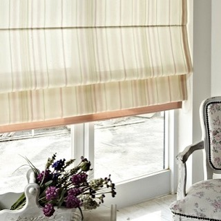 Simply chic fabric roman shade.