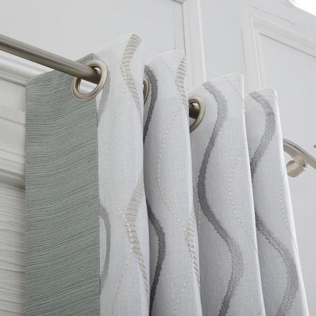 Simple grommet drapery in stunning embroidered fabric. Edge banding adds another pop to finish your window covering look.