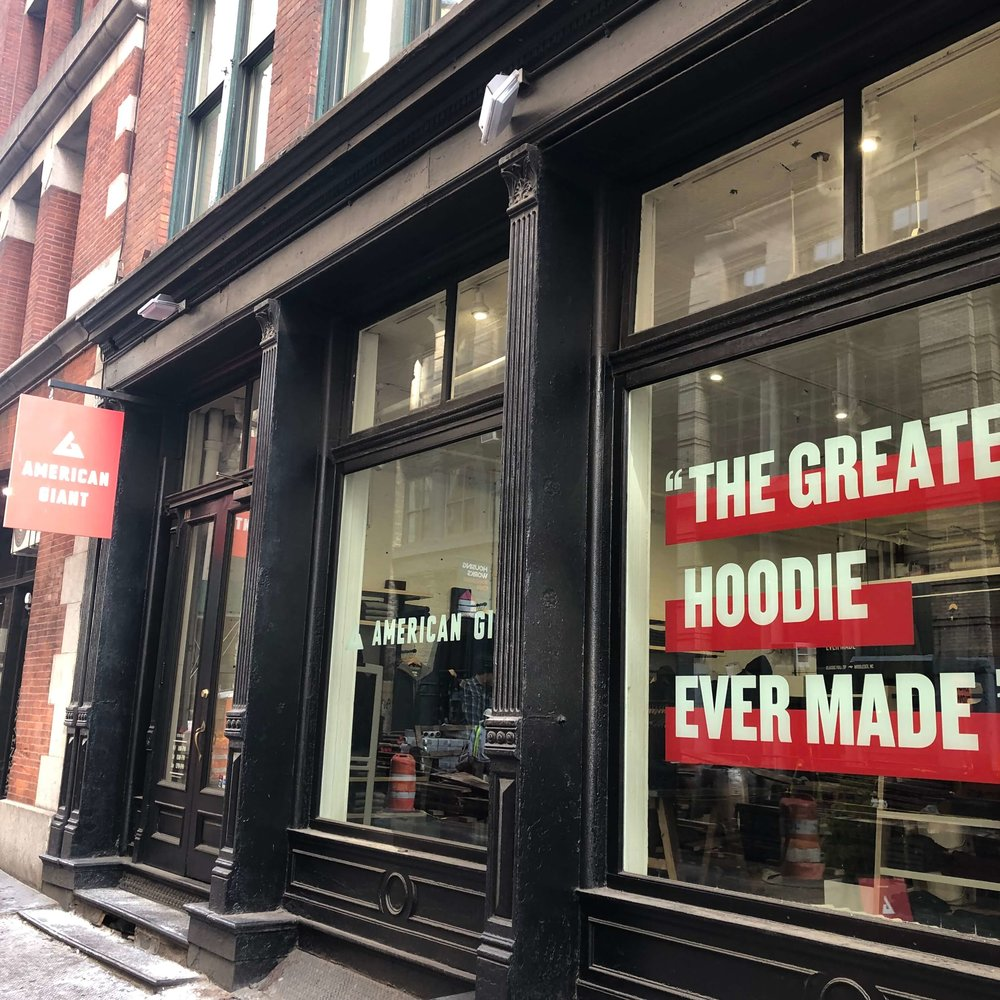 American Giant's pop-up store in SoHo, New York City.