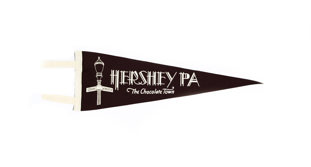 Our first product, a Hershey wool felt pennant we developed with Oxford Pennant in Buffalo, N.Y.