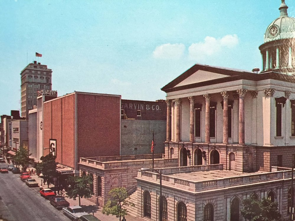From a 1970 postcard, East King Street, Lancaster, looking toward Penn Square, Garvin's (note the G logo on the brick facade) is next to the old Lancaster County Courthouse. (Copyright Melvin J. Horst)