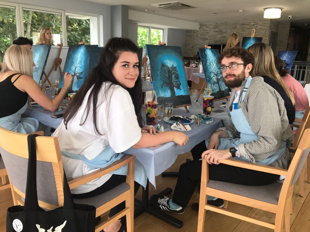 Friends painting together