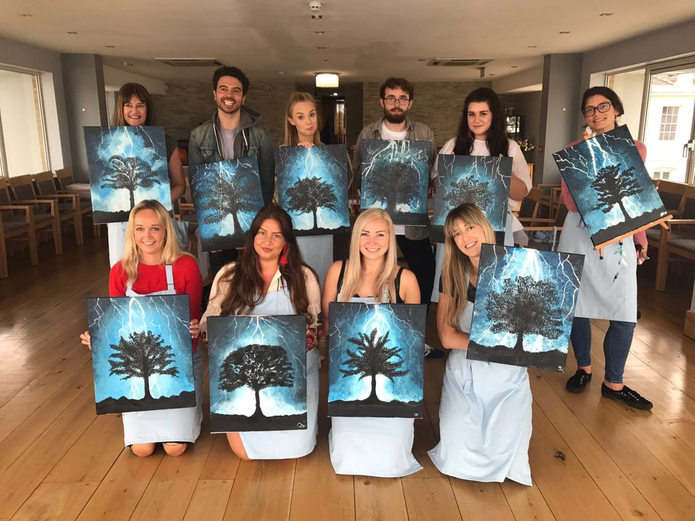 Group photograph with the finished masterpieces of the Tree with Lightning
