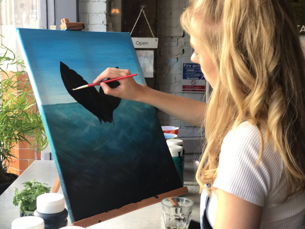 Whale painting in progress