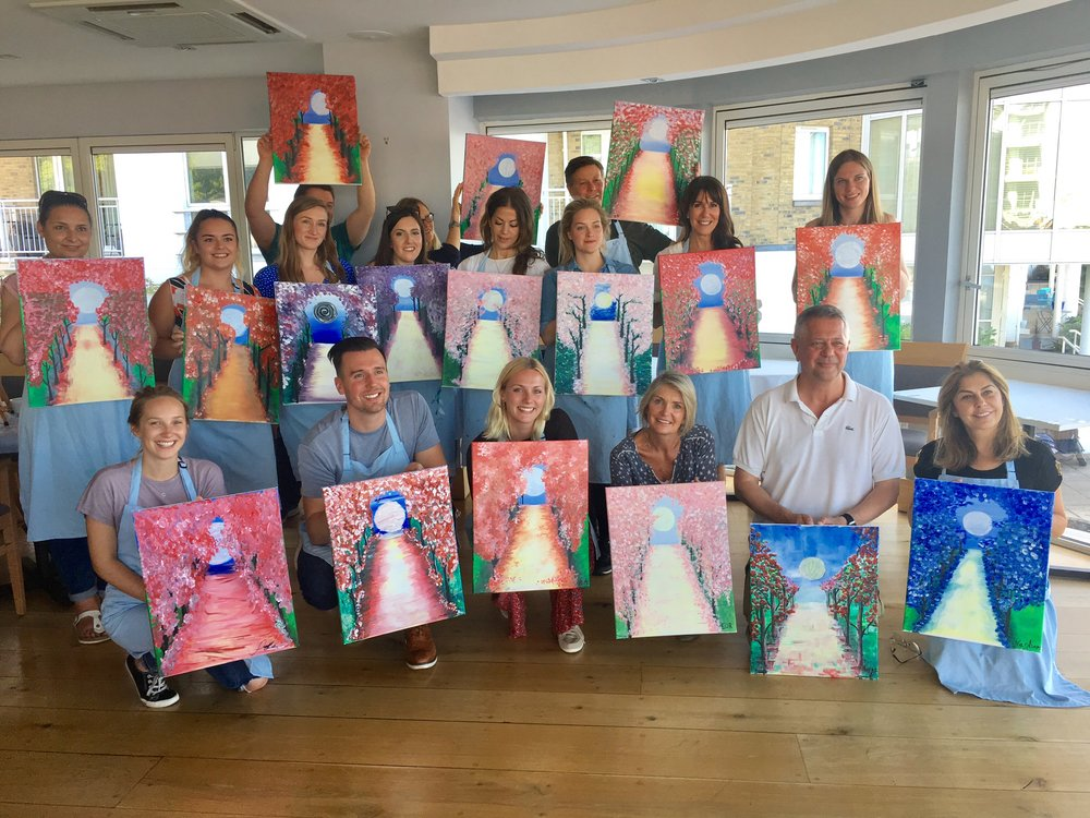 Group photo of the finished paintings - class two